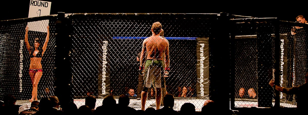 Mixed Martial Arts fighter, Eric Gifford faces off his opponent.