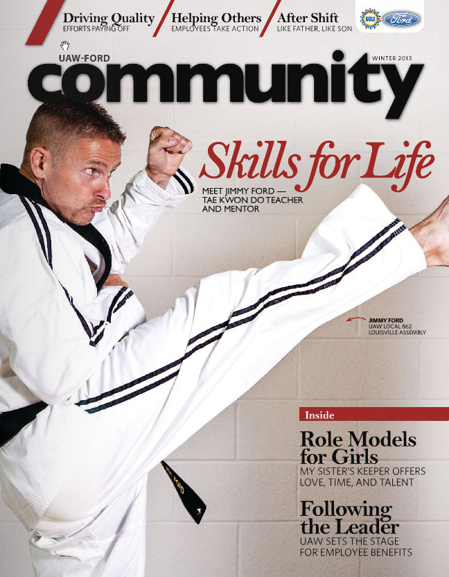 Jimmy Ford on the cover of UAW-FORD Community Magazine
