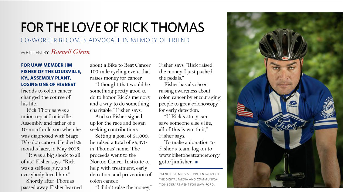 Jim Fisher For the Love of Rick Thomas in UAW-FORD Community Magazine