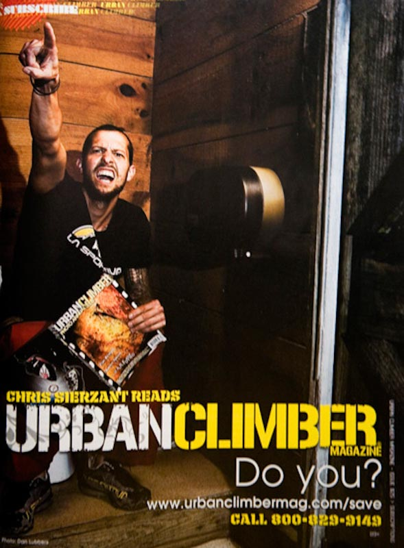 Chris Sierzant takes a dump while reading Urban Climber Magazine
