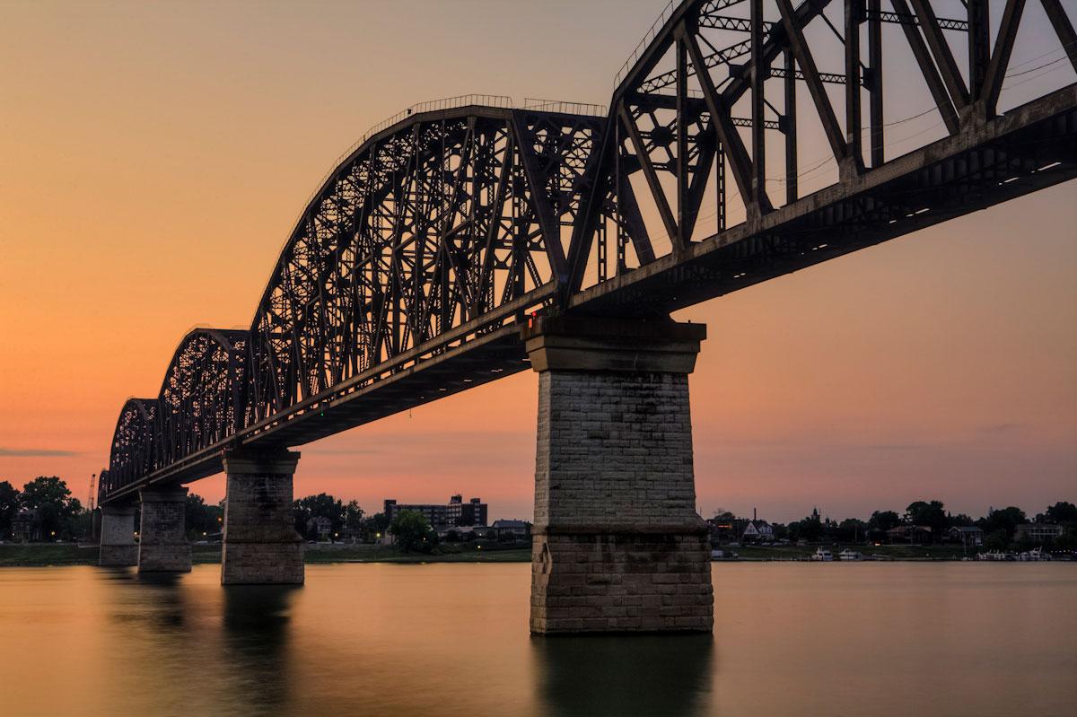 Old train bridge across the Ohio River.