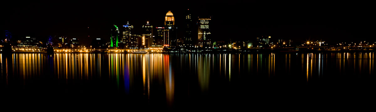 Downtown Louisville, KY reflects in the Ohio River.