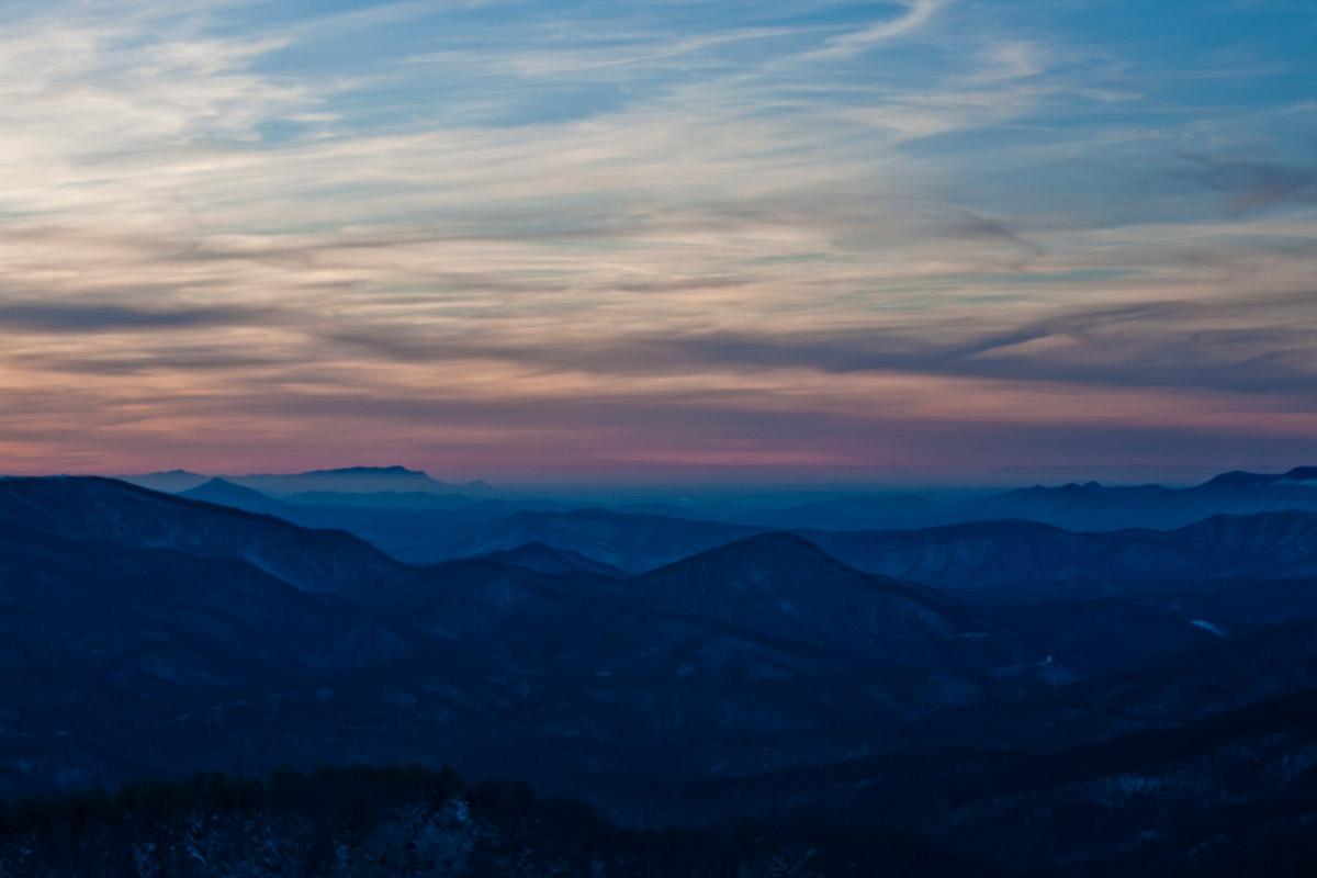 The Appalachian mountain range at sunset.