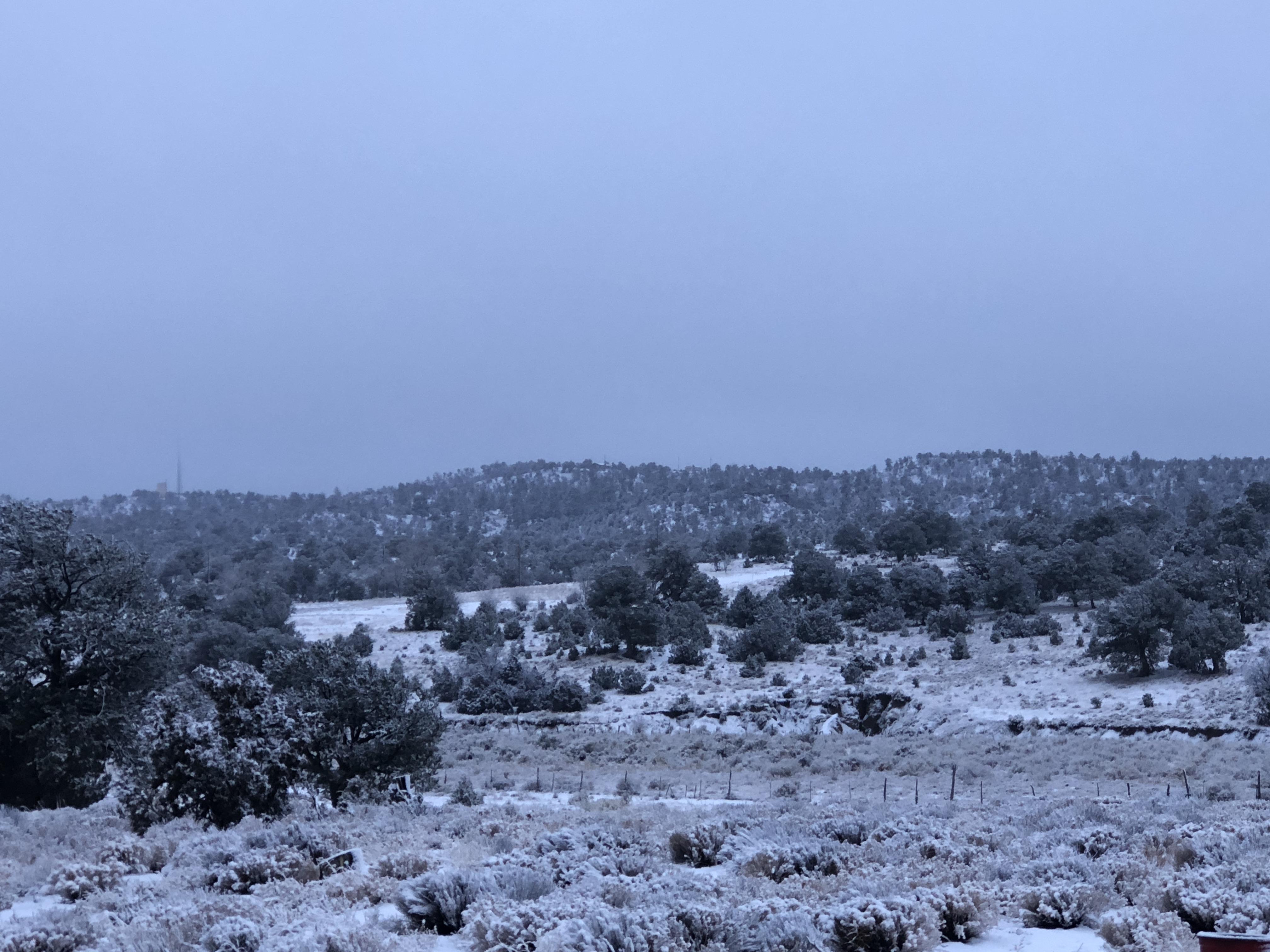 Morning valley snowfall.
