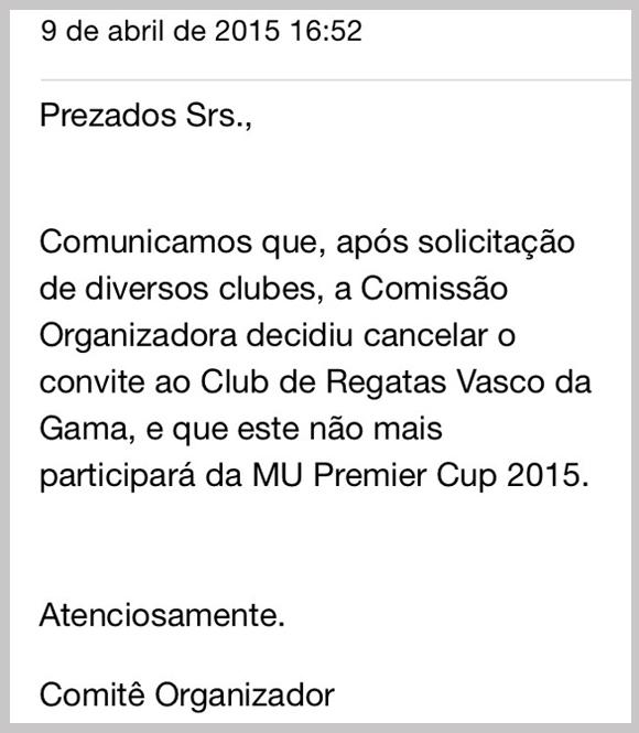 E-mail obtido pelo ESPN.com.br