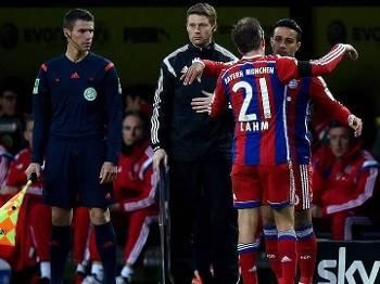 Alemão Bayern de Munique Lahm Thiago Alcântara Borussia Dortmund 04/04/15