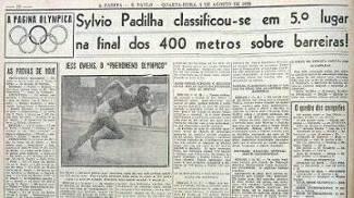Destaque no jornal A Gazeta sobre Sylvio de Magalhães Padilha na final em Berlim-1936