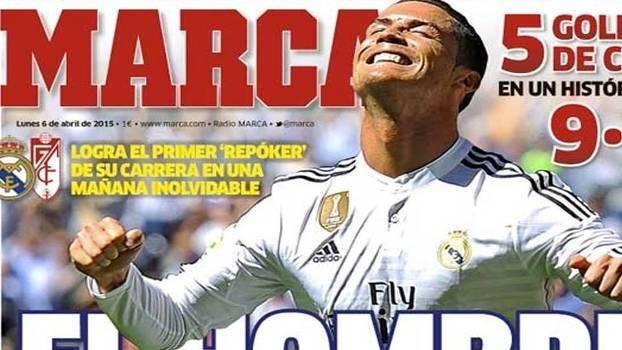 Ronaldo marca cinco gols e imprensa espanhola fala em 'repoker'