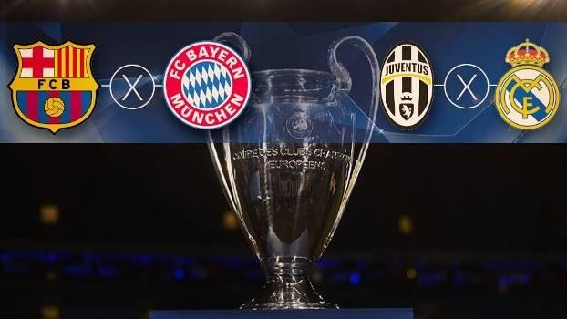 Semifinais da Champions League terão Barcelona x Bayern e Juventus x Real Madrid