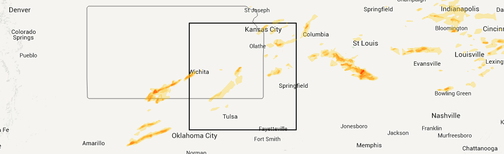 Chanute Kansas Map.Hail Map For Chanute Ks Wednesday April 8 2015