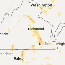 Regional Hail Map for Richmond, VA - Tuesday, July 19, 2016