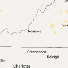 Regional Hail Map for Roanoke, VA - Monday, August 15, 2016