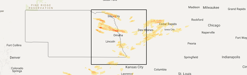 Interactive Hail Maps Hail Map For Ames IA - Map 1213 us 40 west cambridge city in
