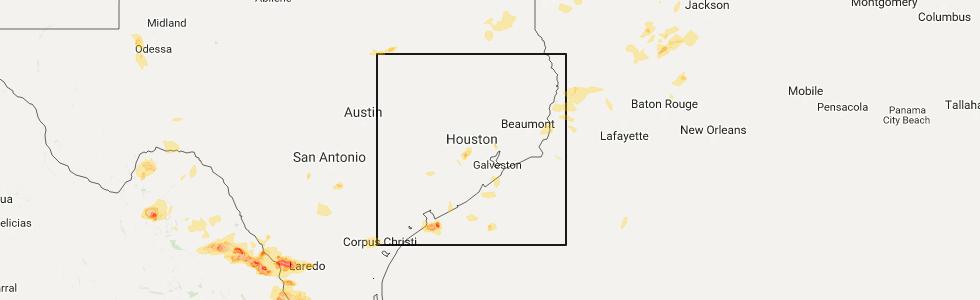 Interactive Hail Maps Hail Map for Jamaica Beach TX