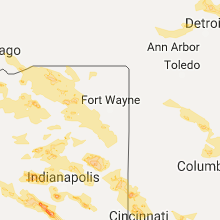 Regional Hail Map for Fort Wayne, IN - Friday, July 7, 2017