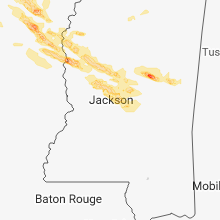 Regional Hail Map for Jackson, MS - Saturday, March 10, 2018