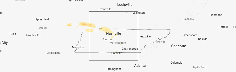 Interactive Hail Maps - Hail Map for Fort Campbell North, KY
