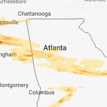 Regional Hail Map for Atlanta, GA - Monday, March 19, 2018