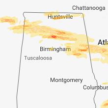 Regional Hail Map for Birmingham, AL - Monday, March 19, 2018