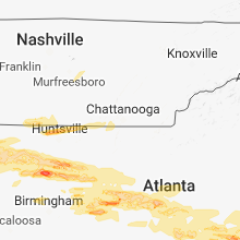 Regional Hail Map for Chattanooga, TN - Monday, March 19, 2018