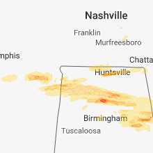Regional Hail Map for Florence, AL - Monday, March 19, 2018