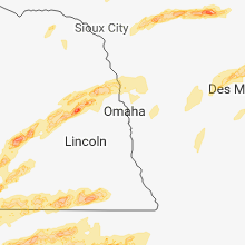 Regional Hail Map for Omaha, NE - Tuesday, May 1, 2018