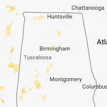 Regional Hail Map for Birmingham, AL - Wednesday, May 16, 2018