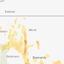 Regional Hail Map for Minot, ND - Friday, June 1, 2018