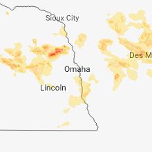 Regional Hail Map for Omaha, NE - Wednesday, June 6, 2018