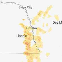 Regional Hail Map for Omaha, NE - Monday, June 11, 2018