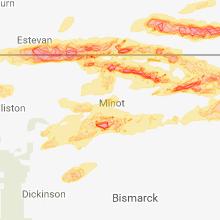 Regional Hail Map for Minot, ND - Thursday, June 14, 2018