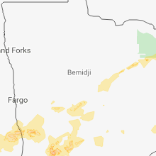 Regional Hail Map for Bemidji, MN - Saturday, June 16, 2018