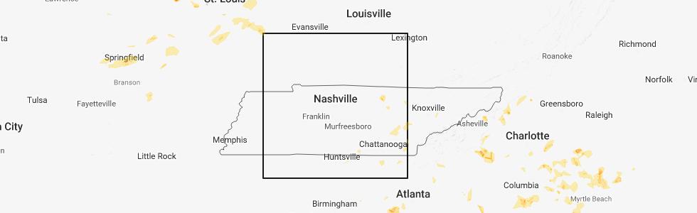 Hail Map for Nashville, TN - Monday, June 25, 2018
