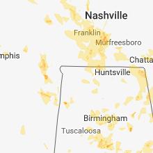 Regional Hail Map for Florence, AL - Thursday, June 28, 2018