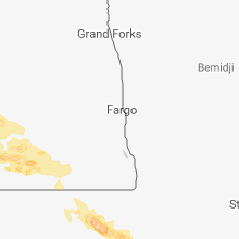 Regional Hail Map for Fargo, ND - Monday, July 9, 2018