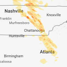Regional Hail Map for Chattanooga, TN - Friday, July 20, 2018