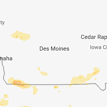 Regional Hail Map for Des Moines, IA - Monday, August 6, 2018