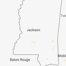 Regional Hail Map for Jackson, MS - Tuesday, August 7, 2018