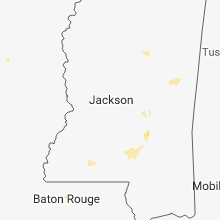 Regional Hail Map for Jackson, MS - Thursday, August 16, 2018
