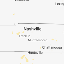 Regional Hail Map for Nashville, TN - Thursday, August 16, 2018