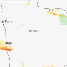 Regional Hail Map for Bemidji, MN - Saturday, August 25, 2018