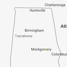 Regional Hail Map for Birmingham, AL - Monday, September 10, 2018