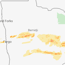Regional Hail Map for Bemidji, MN - Friday, September 14, 2018