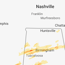 Regional Hail Map for Florence, AL - Thursday, March 14, 2019