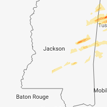 Regional Hail Map for Jackson, MS - Thursday, March 14, 2019