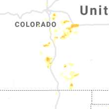 Regional Hail Map for Pueblo, CO - Sunday, July 21, 2019