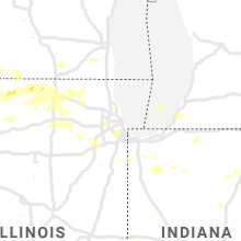 Regional Hail Map for Chicago, IL - Monday, August 10, 2020