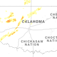 Regional Hail Map for Oklahoma City, OK - Tuesday, March 16, 2021