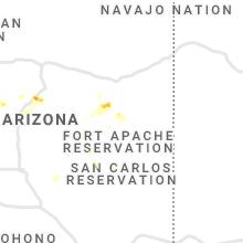 Regional Hail Map for Show Low, AZ - Friday, July 9, 2021