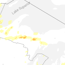 Regional Hail Map for Marquette, MI - Tuesday, August 10, 2021